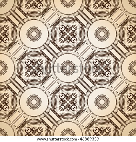 Vector ceiling tile seamless vintage decorative - stock vector