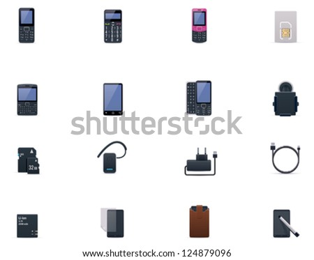 Vector cell phones and accessories icon set - stock vector