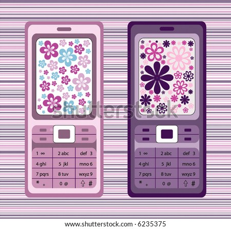 vector cell-phones designed with retro flowers - stock vector
