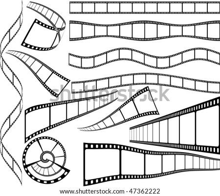 vector celluloid blank film strips - stock vector
