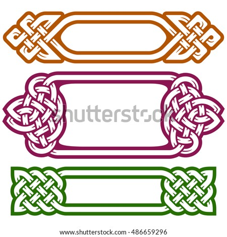 Vector celtic frame set isolated on white background