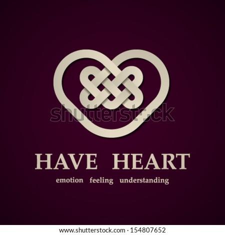 vector celtic heart symbol design template - stock vector