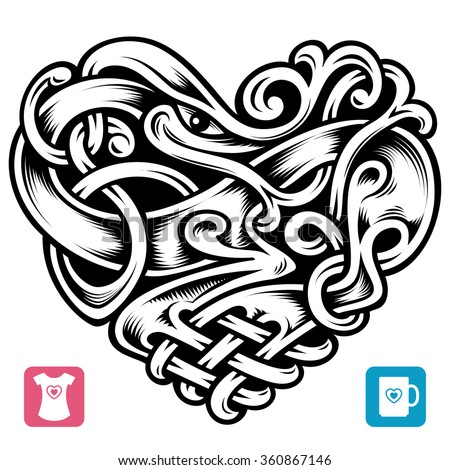Vector celtic pattern in the shape of heart - stock vector