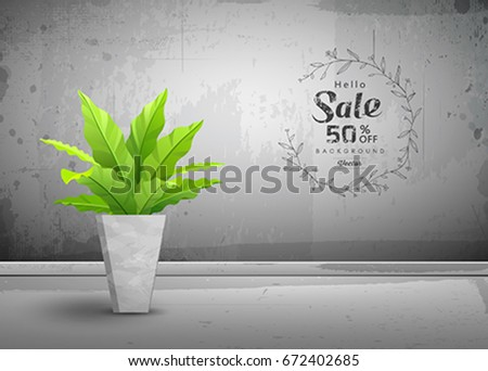 Vector Cement Loft Interior Wallpaper With Tropical Tree In Pots Sale Concept Background Illustration