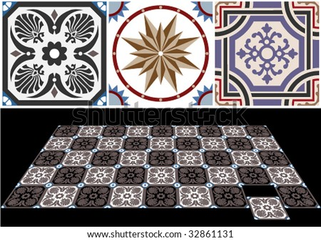 Vector ceramic tiles with seamless pattern 6. - stock vector