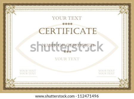 Vector certificate - stock vector
