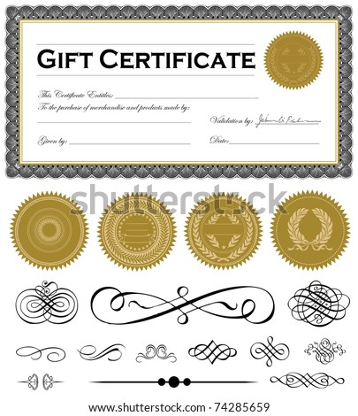 Vector certificate frame and set of vector ornaments. Easy to edit. - stock vector