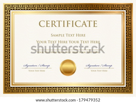 Vector certificate of achievement with wax seal - stock vector