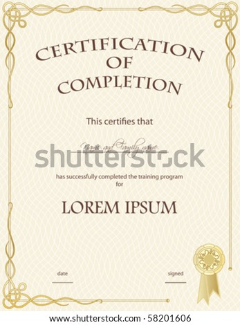 Vector: Certificate of Completion Template - stock vector