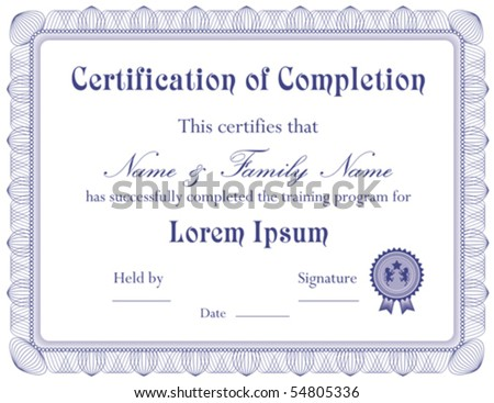 Vector Certificate Completion Template Vector 56196622 – Certification of Completion Template