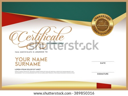 Vector certificate template and frame. - stock vector