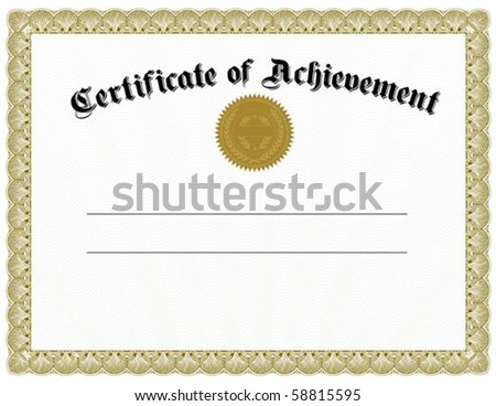 Vector certificate template and gold seal. Easy to edit and scale. - stock vector