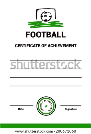 Vector Certificate Template Diploma Football Simple Stock Vector