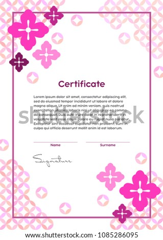Vector certificate template japanese modern style stock vector hd vector certificate template japanese modern style beauty salon yoga spa makeup yadclub Image collections