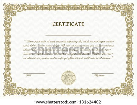 Vector certificate template with detailed border - stock vector