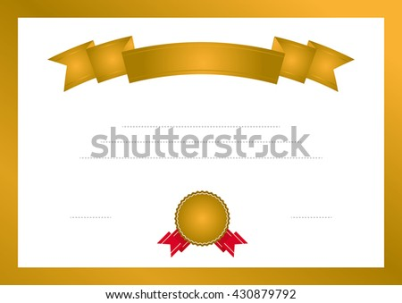 Vector certificate template with ribbon.