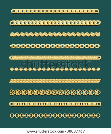 Vector Chain Designs, no gradient used - stock vector