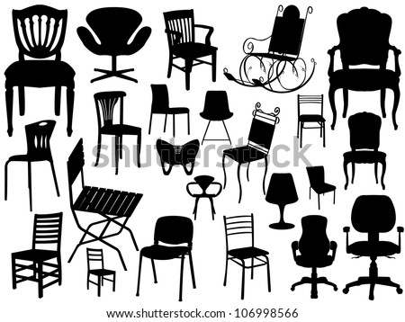 Vector Chair Set - stock vector