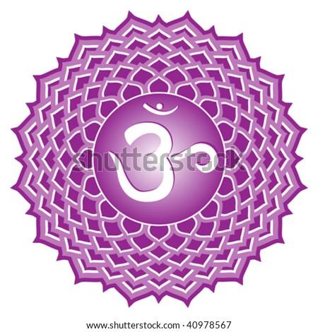 vector chakra series: sahasrara or crown chakra symbol - stock vector
