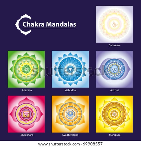 Vector Chakra Symbol Mandalas for Meditation  to Facilitate Growth and Healing - stock vector