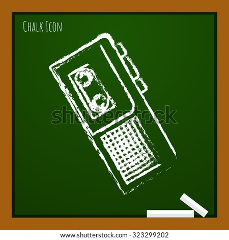 Vector chalk drawn doodle retro dictaphone icon on school board  - stock vector
