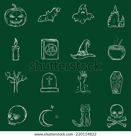 Vector Chalk Halloween Icons - stock vector