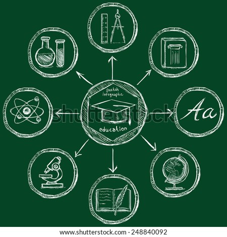 Vector Chalk Sketch Education Infographic Template - stock vector