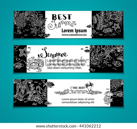 Vector chalk underwater life horizontal banners. Contours of fish, starfish, crab, shell, jellyfish, seaweed on the bottom. There is place for your text on blackboard background. - stock vector