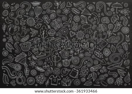Vector chalkboard line art Doodle cartoon set of objects and symbols on the Spring nature theme - stock vector