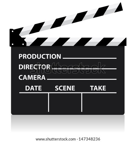 vector chalkboard movie director slate - stock vector