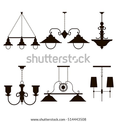 Vector Chandeliers Interior Furniture Icons Ceiling Stock Vector ...