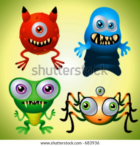 Vector Character Collection of Baby Monsters - stock vector