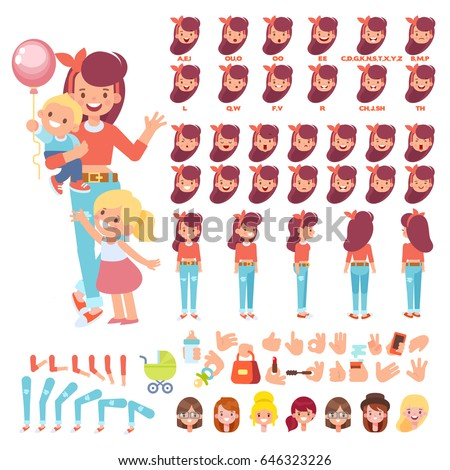 Vector character Happy Mother with two children. Character creation set with various views, hairstyles, face emotions, lip sync and poses. Parts of body template for design work and animation.