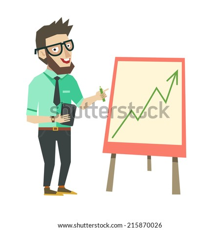 Vector character in flat style. Modern businessman doing a presentation. Smart man showing a graph or presenting growing business - stock vector