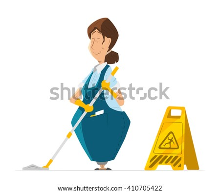 Vector character of cleaner lady or janitor woman in uniform cleaning floor holding mop.
