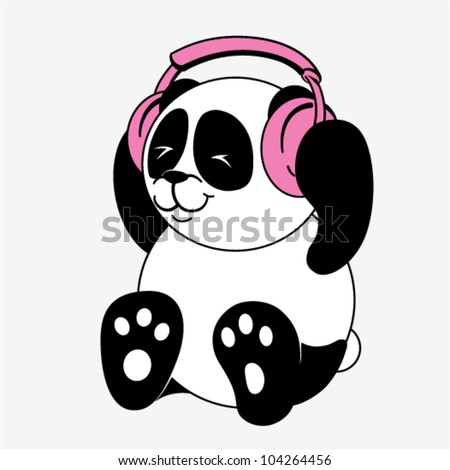 Vector character - Panda with headphones - stock vector