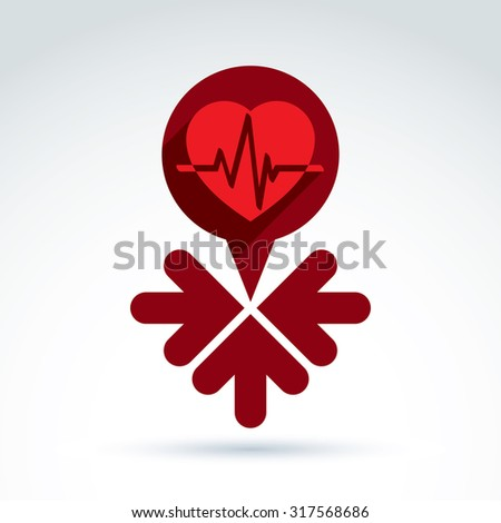 Vector charity and donation symbol, illustration of red heart with arrows. Idea of assistance and volunteer, conceptual blood bank. - stock vector