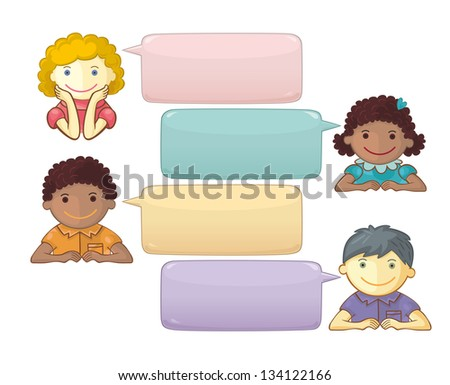 Vector Chat Template With Cute Personages - stock vector