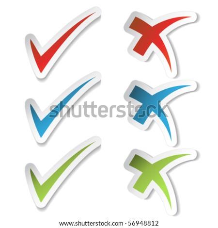 Vector check mark stickers - stock vector