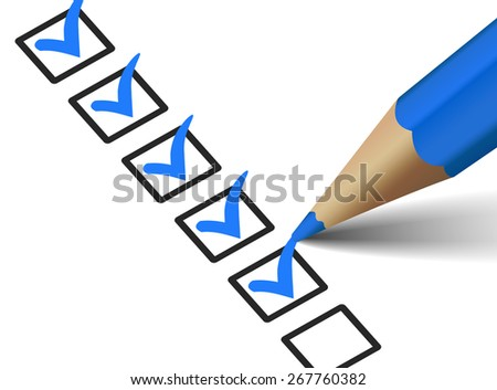 Vector check mark symbol and icon on blue checklist with pen for business design concept and web graphic, EPS 10 illustration on white background. - stock vector