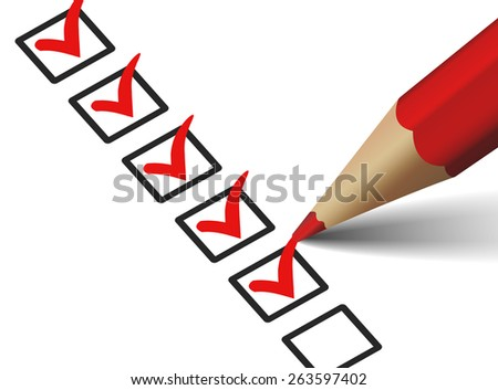 Vector check mark symbol and icon on red checklist with pen for business design concept and web graphic, EPS 10 illustration on white background.