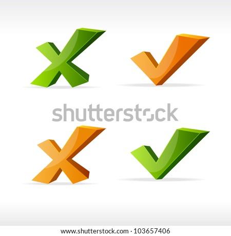Vector check mark Yes No - stock vector