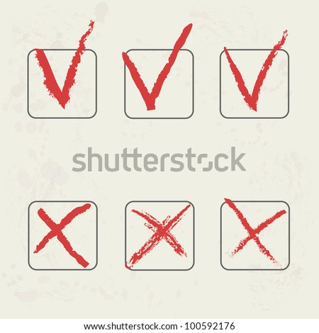 vector check marks hand drawn on grunge background - stock vector