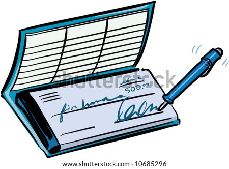 vector checkbook writing - stock vector