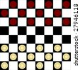 Vector checker or draughts board game with symbolic pieces in red and cream showing opening layout - stock photo