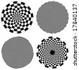 vector - Checkerboard Spirals, Dartboard: Four versions of black & white checkerboard spirals, including dartboard design. EPS8 organized in groups for easy editing.