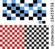 Vector Checkered Seamless Tiles Set - stock vector