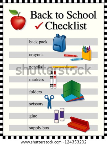 vector - Checklist for back to school supplies. Backpack, crayons, pencils, markers, folders, scissors, glue, supply box, big red apple for the teacher. Black and white check frame. - stock vector