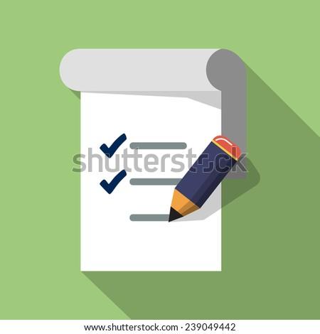 Vector Checklist with Pencil  - stock vector