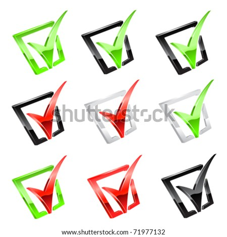 Vector checkmark set - stock vector